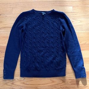 Talbots Navy Cable Lambswool Crewneck Sweater, XS